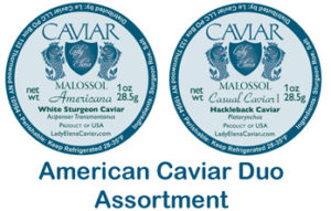 American Caviar Duo Assortment of Hackleback and White Sturgeon Caviar