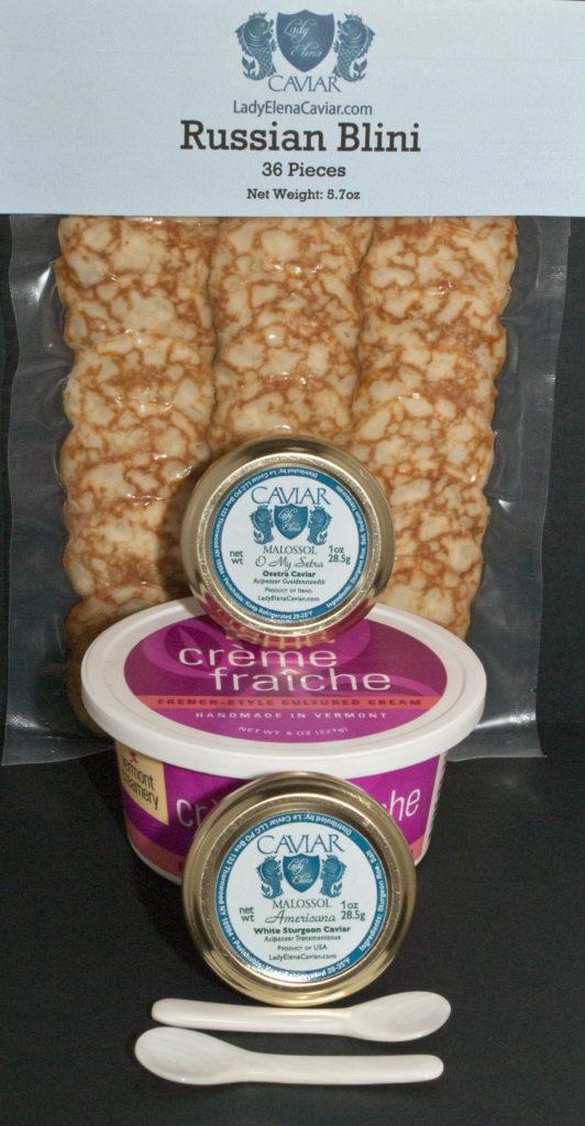 Caviar tasting assortment