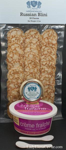 Caviar Gift White-Sturgeon caviar creme blini spoons