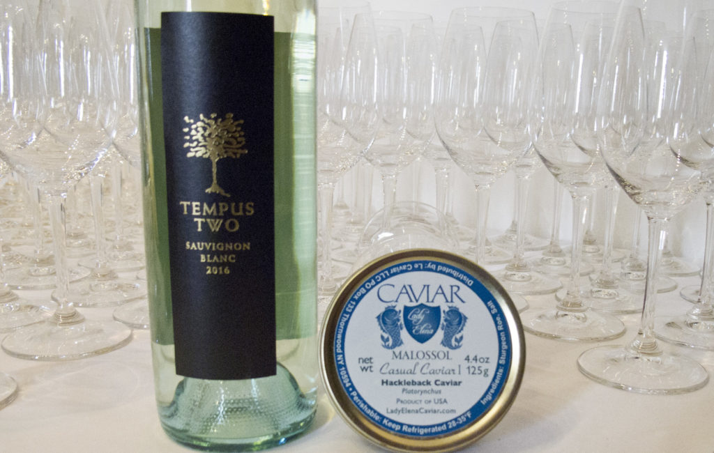 Tempus Two Sauvignon Blanc with Hackleback Caviar from LadyElenaCaviar.com