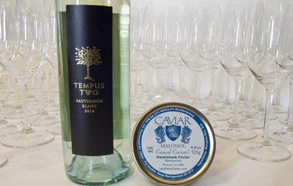 Tempus Two Sauvignon Blanc with Hackleback Caviar from LadyElenaCaviar.com