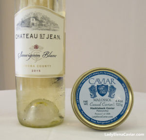 Chateau St Jean Sauvignon Blanc paired and snacks with Hackleback Caviar