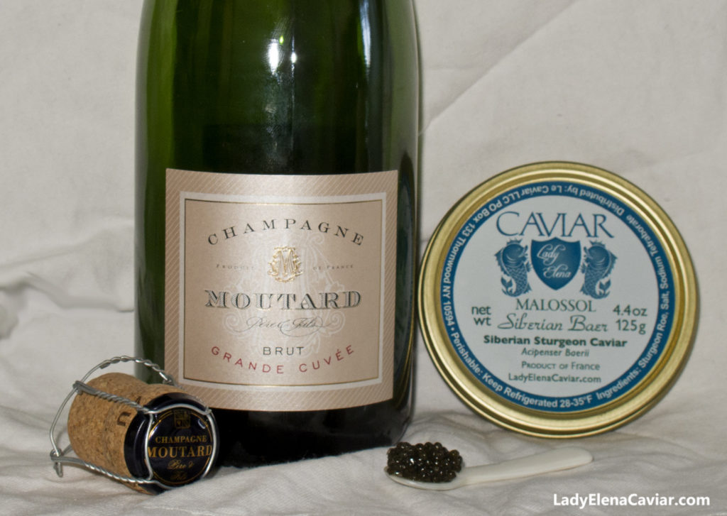 Champagne Moutard Grand Cuvee and Siberian Sturgeon Caviar