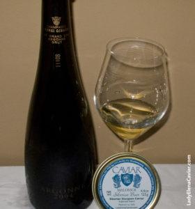 Champagne Caviar 2004 Champagne Giraud Brut AY Grand Cru Argonne with Siberian Sturgeon Caviar