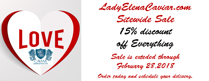 Valentines LadyElenaCaviar.com Sitewide 15% off sale