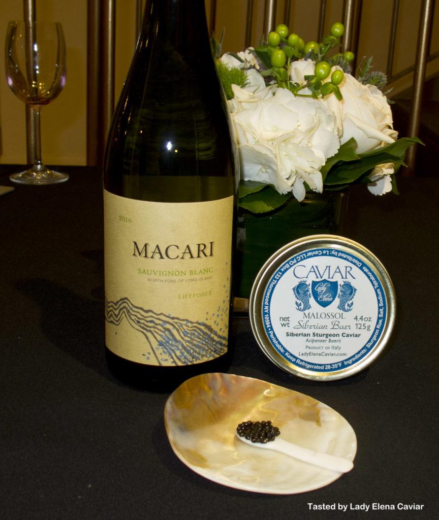 2016 Macari Sauvignon blanc with Siberian Sturgeon Caviar