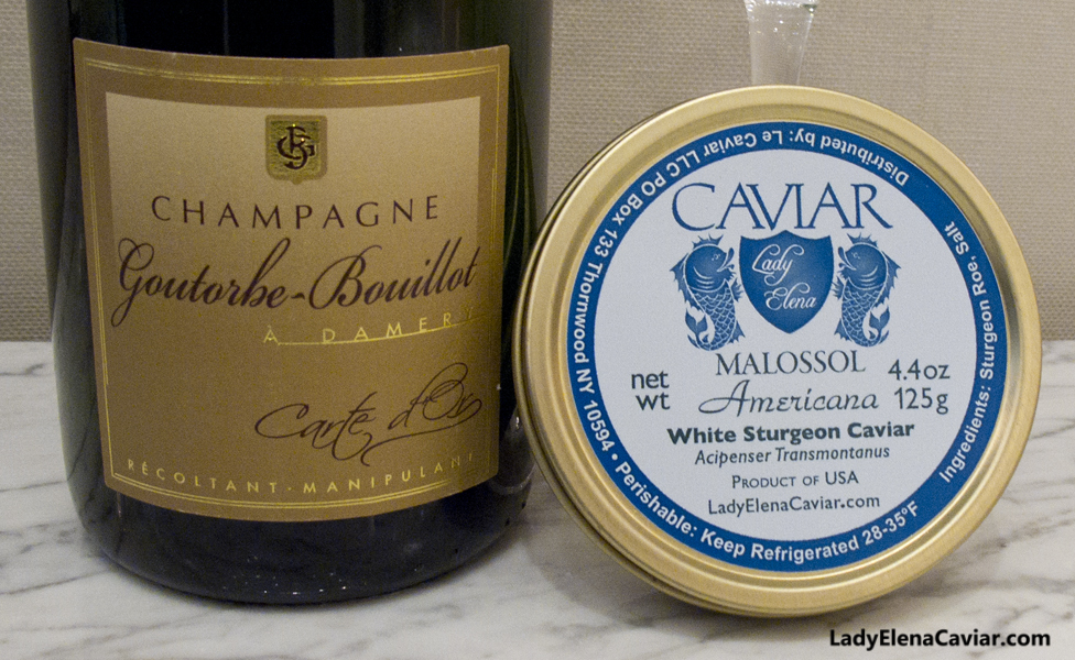 Champagne Goutorbe Bouillot Carte de Or with White Sturgeon Caviar in the Hamptons